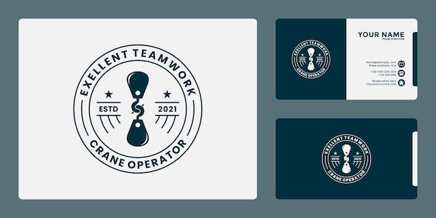 Distintivo retrò del modello di progettazione del logo della gru