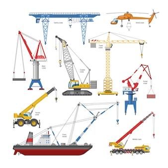 Crane la gru a torre e l'attrezzatura del fabbricato industriale o l'insieme dell'illustrazione di constructiontechnics di alto cavalletto o portale-gru su fondo bianco