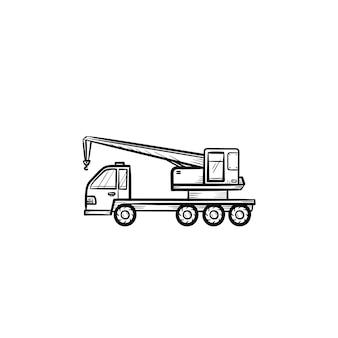 Icona di doodle di contorni disegnati a mano di camion gru. costruzione e gru mobile, concetto di attrezzatura di carico e sollevamento