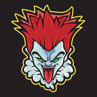 Crazy clown esport logo illustrazione