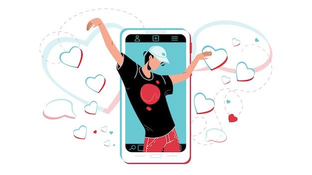 Crazy dance dancing man on phone screen