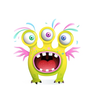 Creatura mostro divertente pazzo per bambini con tre occhi e ali, bocca urlante spalancata con i denti. cartone animato in stile 3d per bambini.