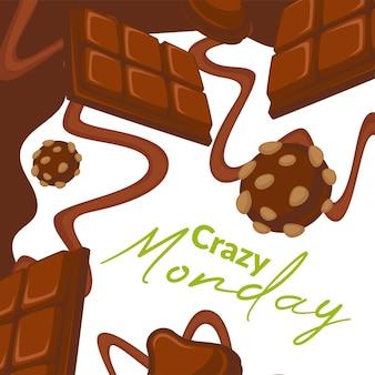 Pazzi biscotti al cioccolato del lunedì con noci vettore