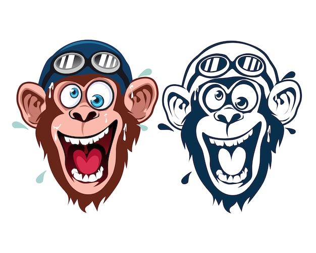 Cartone animato mascotte scimmia pazza