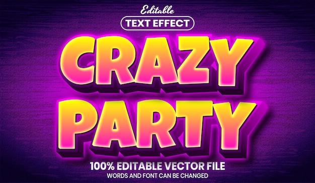 Testo festa pazzesco, effetto testo modificabile in stile carattere