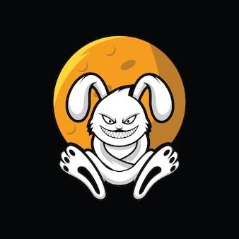 Coniglio pazzo sotto l'illustrazione vettoriale luna