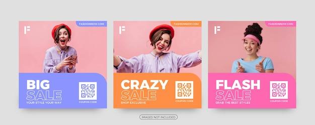 Modelli di post sui social media di vendita pazzesca