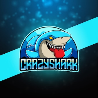 Logo della mascotte di crazy shark esport