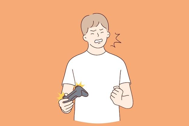 Personaggio dei cartoni animati pazzo piccolo ragazzo che grida urlando utilizzando il controller di videogiochi
