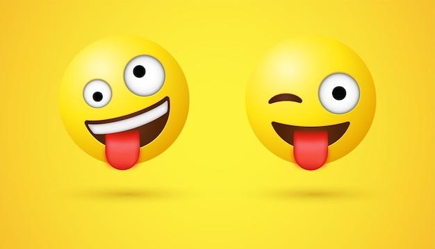 Emoticon pazzesche e con la lingua fuori con l'emoticon occhi pazzi di winking face