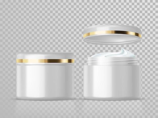 Modello cosmetico del pacchetto di cura di pelle isolato barattolo crema