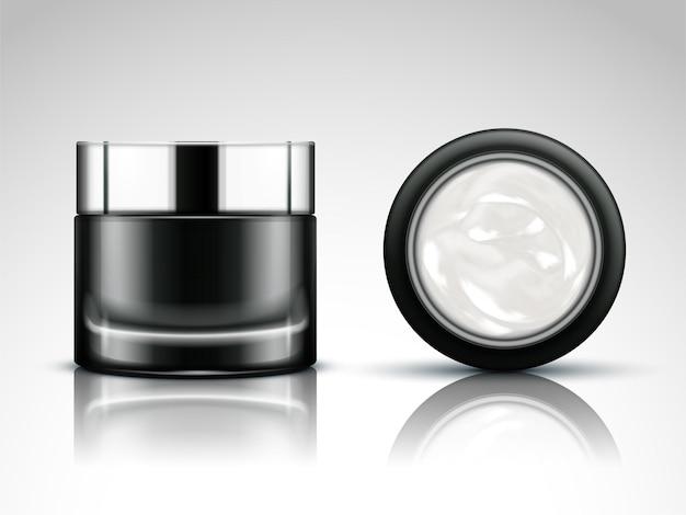 Mockup di barattolo di crema, barattolo cosmetico in bianco nell'illustrazione 3d