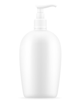 Lozione crema in un contenitore di plastica su bianco