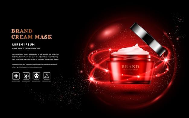 Annunci di maschera crema con confezione di prodotti per la cura della pelle