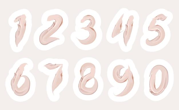 Set di numeri crema di 1 2 3 4 5 6 7 8 9 0 con pennellata rosa