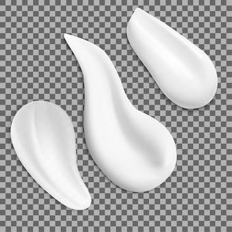 Texture crema striscio faccia campione cosmetico bianco