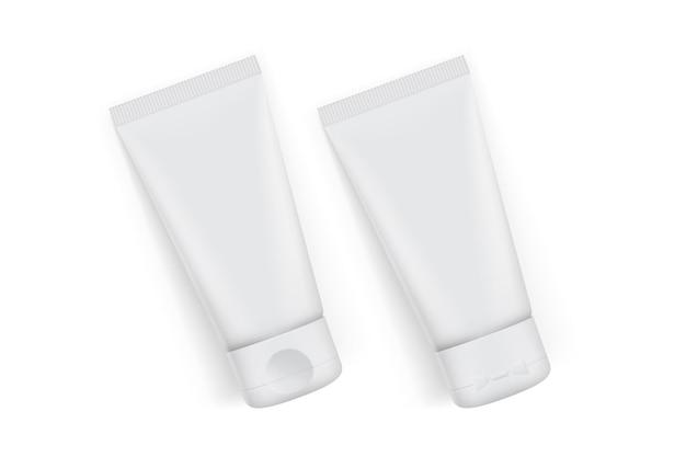 Confezione tubo crema isolato su bianco
