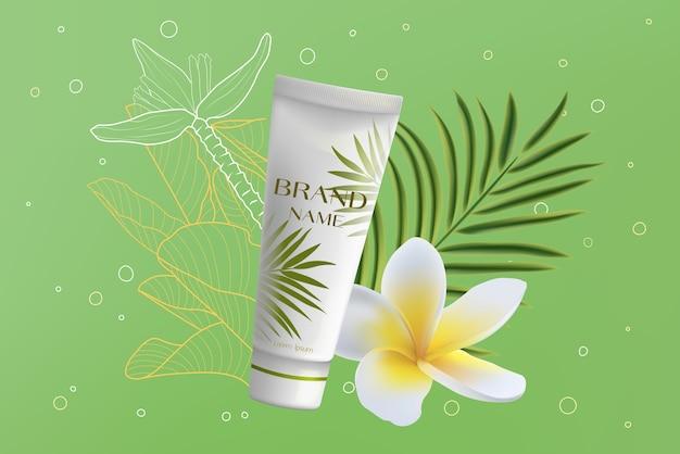 Crema cosmetica realistica pacchetto bellezza viso skincare
