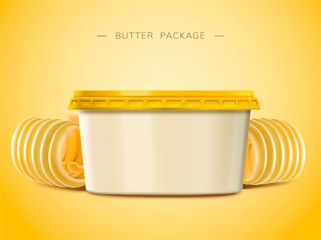 Contenitore vuoto di burro cremoso, elementi di burro arricciato