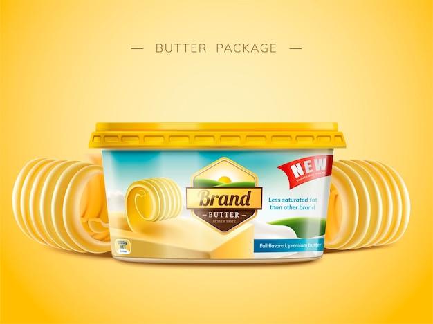 Design del pacchetto di burro cremoso, elementi di burro arricciato