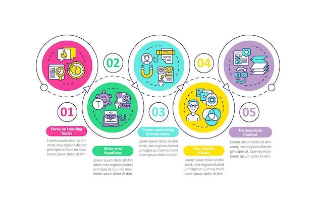 Crea un modello di infografica vettoriale di contenuti degni di nota. elementi di design del contorno di presentazione del focus di tendenza. visualizzazione dei dati con 5 passaggi. grafico delle informazioni sulla sequenza temporale del processo. layout del flusso di lavoro con icone di linea