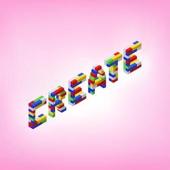 Crea una parola assemblata da blocchi colorati in vista isometrica. illustrazione vettoriale.