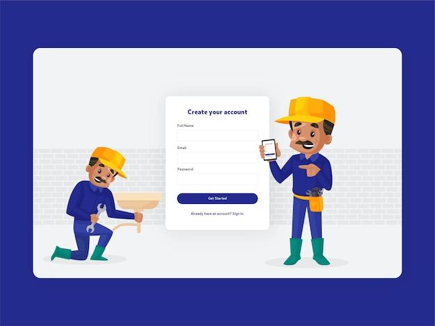 Crea il design della pagina di registrazione del tuo account