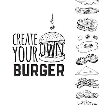 Crea il tuo hamburger. schizzi disegnati a mano di un hamburger e dei suoi ingredienti. panino, cetrioli, uova, insalata, pomodori e formaggio.