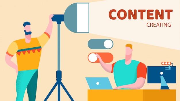 Creazione del modello di banner vettoriale piatto di contenuto vlog