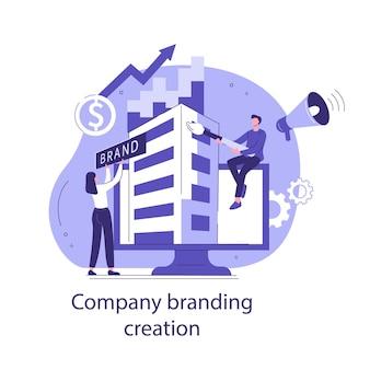 Creazione del marchio aziendale. concetto di affari di stile piano. illustrazione vettoriale.
