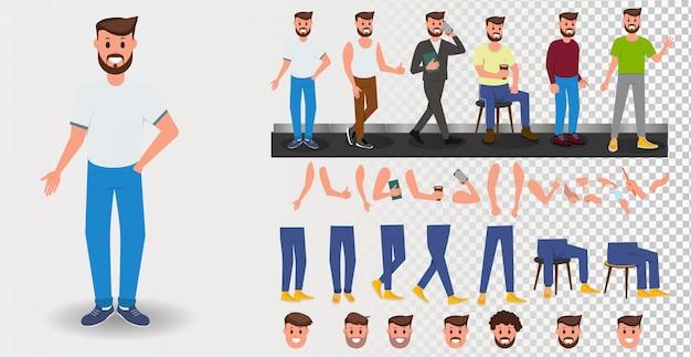 Set di creazione di giovane uomo, costruttore per l'animazione. personaggio a figura intera. parti del corpo, emozioni del viso, tagli di capelli e gesti delle mani. piatto isolato