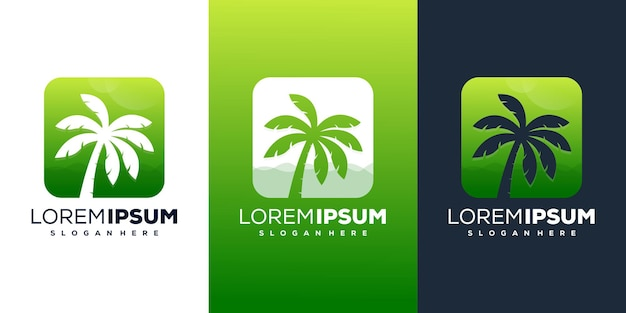 Design del logo della spiaggia di palme creative