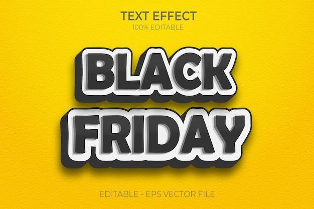 Creativo 3d black friday modificabile effetto testo in grassetto stile testo vettore premium