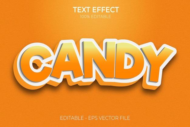 Effetti di testo creativi 3d candy premium vector
