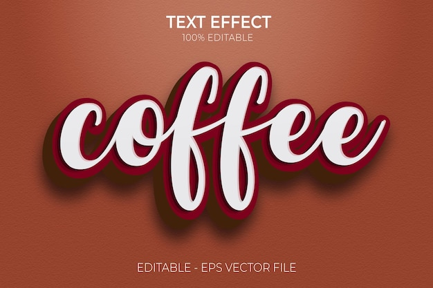 Vettore premium di effetto testo in grassetto caffè 3d creativo