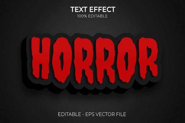 Effetti di testo modificabili creativi 3d di halloween e horror vettore premium