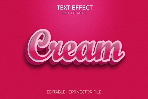 Creativo 3d moderno modificabile grassetto word cream effetto testo stile testo vettore premium