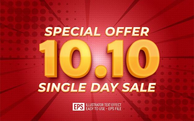 Testo 3d creativo 10.10 vendita di un giorno modello di effetto stile modificabile design 3d