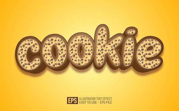 Cookie di testo 3d creativo, modello di effetto stile modificabile