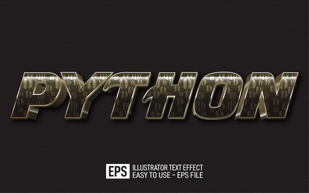 Testo 3d creativo phyton, modello di effetto stile modificabile