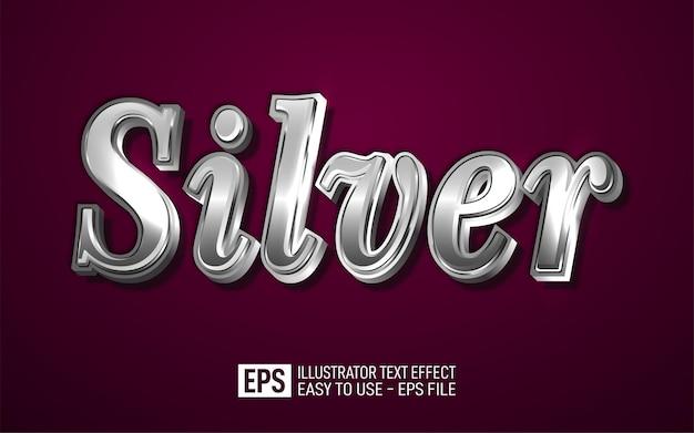 Testo 3d creativo argento, modello di effetto stile modificabile