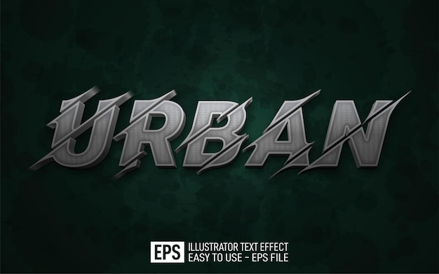 Testo 3d creativo modello di effetto stile urbano e modificabile
