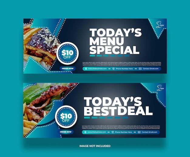 Banner di promozione post social media ristorante creativo cibo astratto