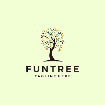 Illustrazione astratta creativa icona del modello di vettore del segno variopinto di progettazione del logo della natura dell'albero