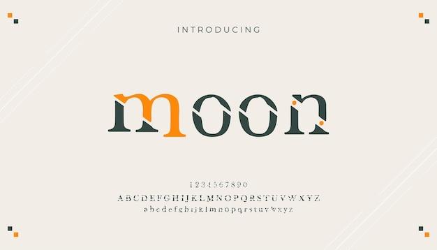 Caratteri di alfabeto classico moderno minimal astratto creativo