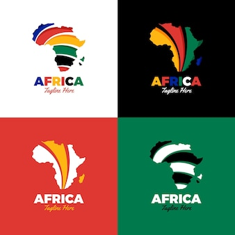 Insieme creativo di logo della mappa dell'africa