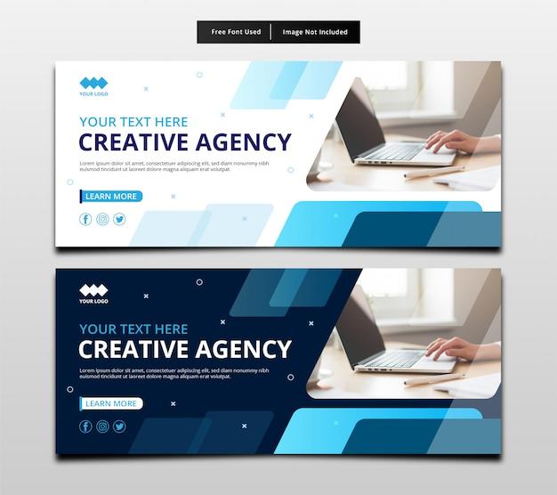Progettazione creativa del modello dell'insegna dell'agenzia. Vettore Premium