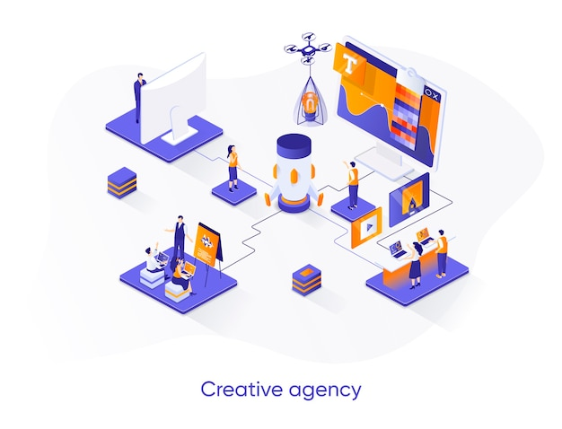 Illustrazione isometrica di agenzia creativa con personaggi di persone