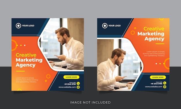 Agenzia creativa post sui social media o modello di banner pubblicitario web quadrato