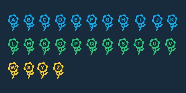 Alfabeto creativo con modello di logo del concetto di fiore